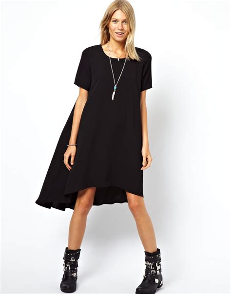 Dipped Hem Dresses by Lyst Asos Swing Dress With Dipped Hem And Pleated Back