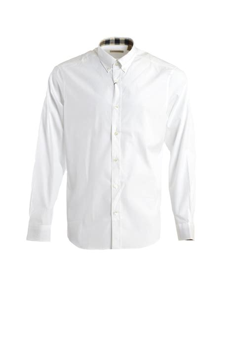 Button Cotton Shirt burberry stretch cotton button shirt in white for