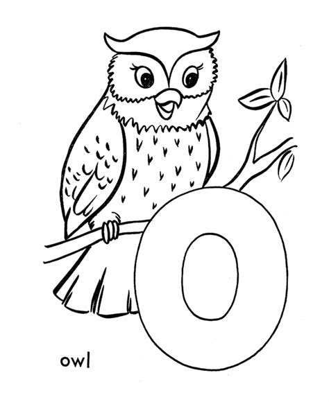 O The Owl Coloring Page by Letter O Coloring Pages Az Coloring Pages