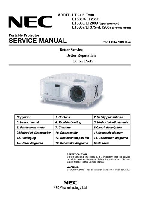 nec projector l replacement instructions nec pg6100 pg9100 sm service manual download schematics