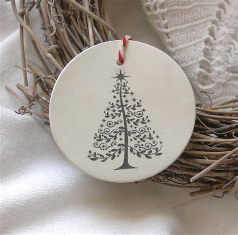 Handmade Clay Ornaments - o tree two clay tag ornaments or