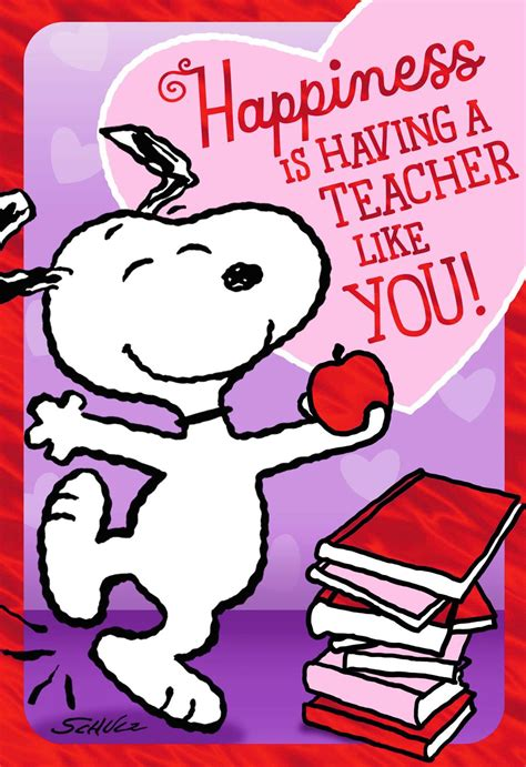 peanuts dancing snoopy valentines day card  teacher