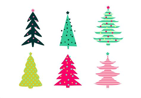 christmas tree vector set download free vector art