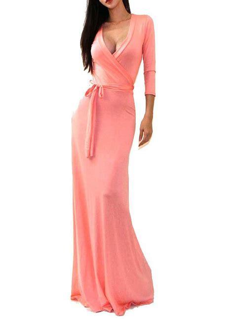 Tie Waist Sleeve Dress s v neck 3 4 sleeve tie waist maxi evening dress