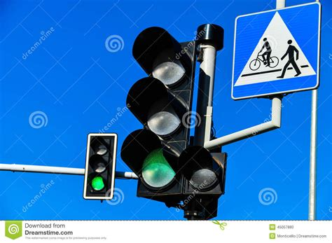 blue lights on traffic lights traffic lights over blue sky stock photo image 45057880