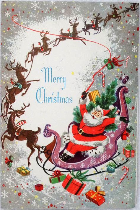 mid century santa amp reindeer sleigh vintage christmas card greeting ebay ornament