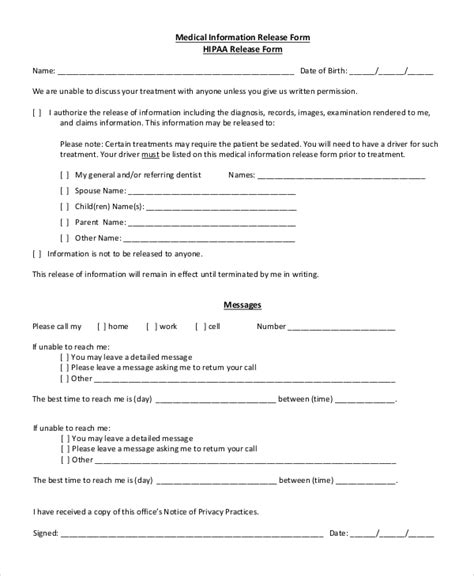 8 Sle Hipaa Release Forms Sle Templates Hipaa Records Release Form Template