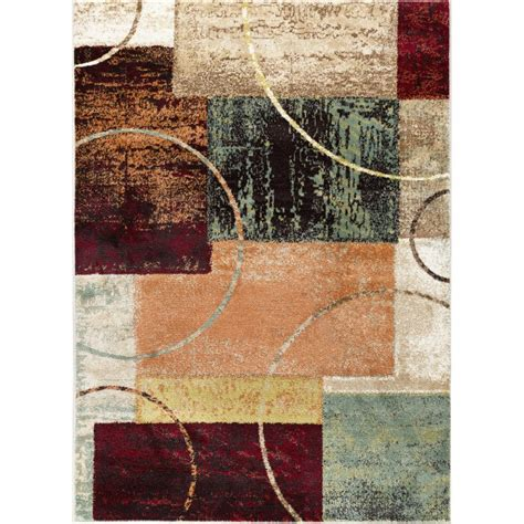 Tayse International Trading Red Brown Teal 5 X 7 Deco Teal And Brown Area Rugs