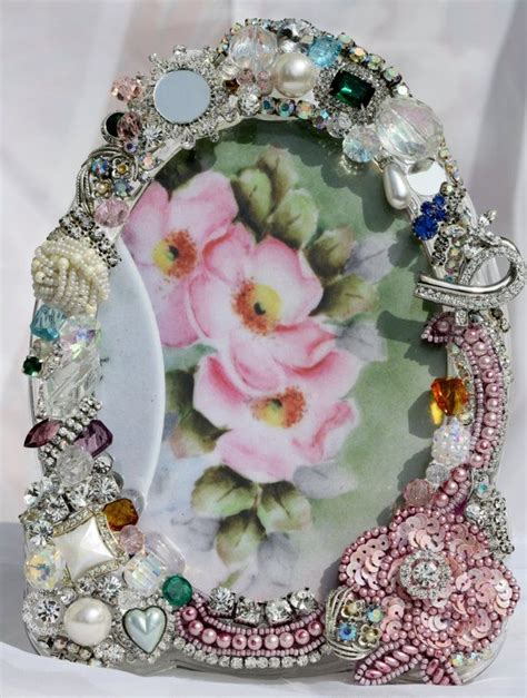 vintage rhinestone costume jewelry repurposed framed 17 best images about embellished picture frames on