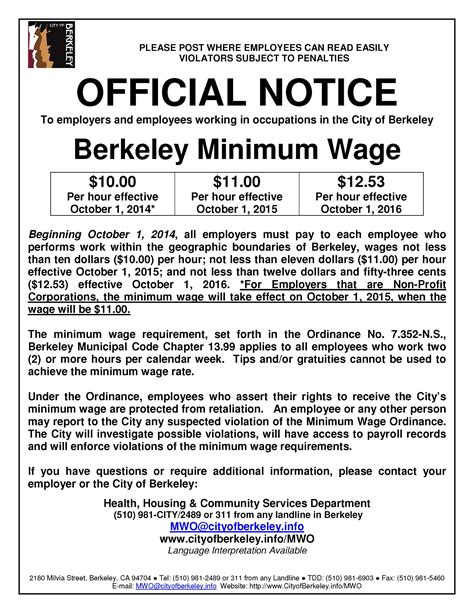 minimum wage overview minimum wage ordinance city of berkeley ca