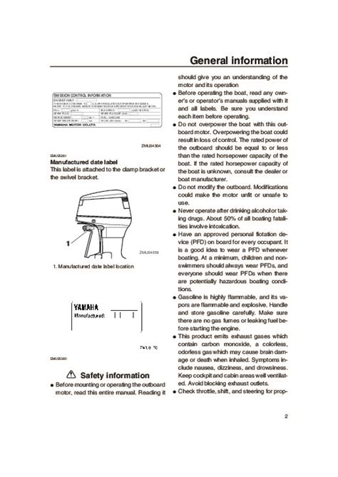 2005 Yamaha Outboard 115d Boat Motor Owners Manual