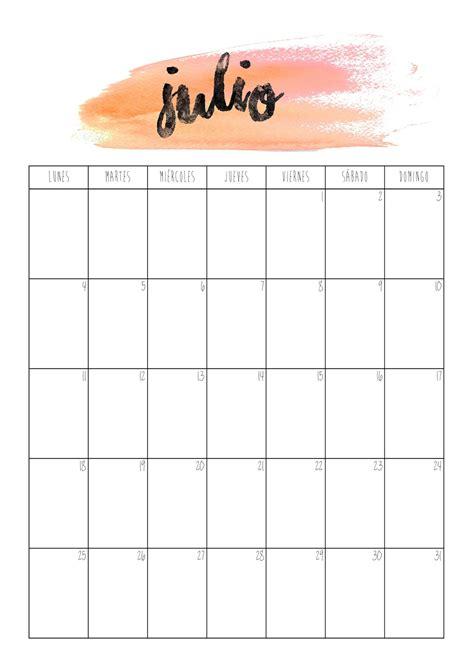 Calendario Julio Con P De Papel Calendario Julio 2016
