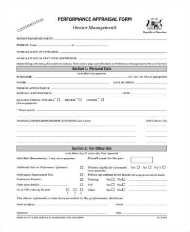 Sle Management Appraisal Forms 7 Free Documents In Pdf Senior Management Appraisal Template