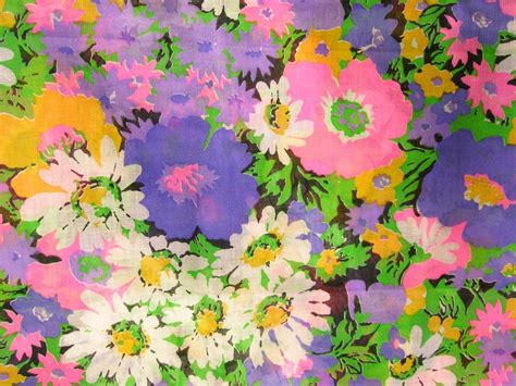 70s floral vintage floral print fabric 60s or 70s mod purple neon