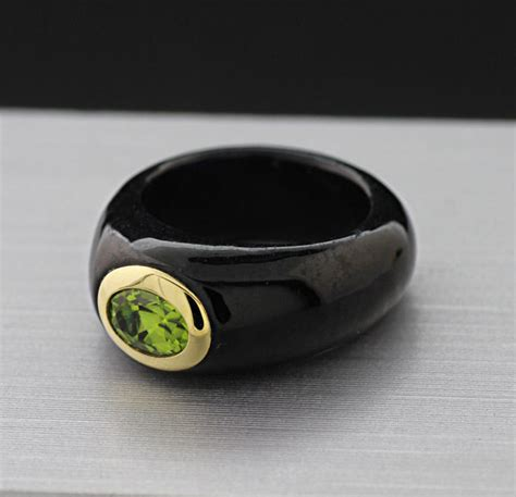 black jade ring modern black jade ring set with peridot in 585 14k yellow