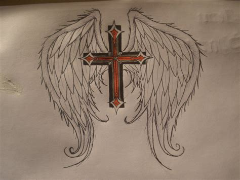 gothic wings tattoos designs images gothic cross with angel wings by hxcmusicfreaxx69 on