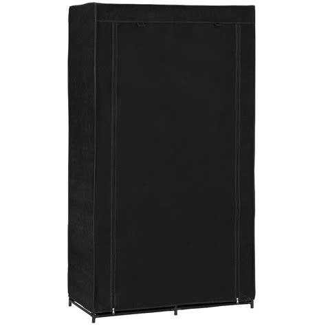 neu holz 174 kleiderschrank 162x90 schwarz stoff falt schrank - Kleiderschrank Schwarz