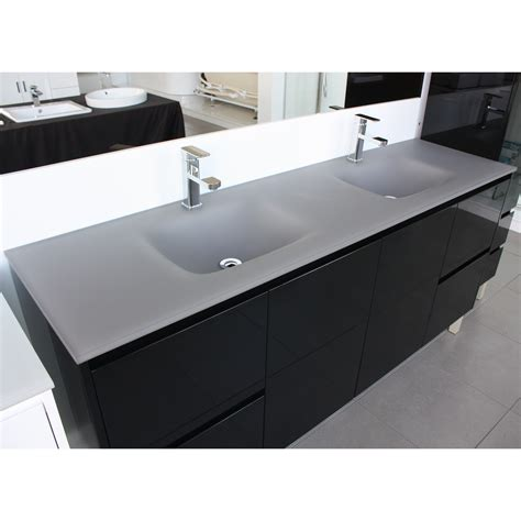 double bowl vanity tops for bathrooms aurora matte grey double bowl glass vanity top 1500mm highgrove bathrooms