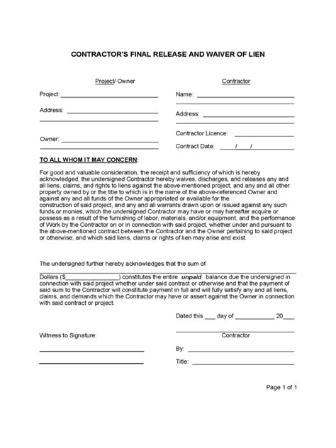 standard lien waiver form 4 free templates in pdf word