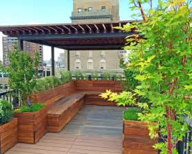 Metal Outdoor Bench Seat Nyc Custom Roof Deck Ipe Amp Metal Pergola Ipe Bench
