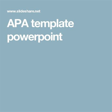 apa powerpoint template 25 best ideas about apa title page template on
