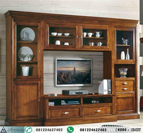 Kancing Hias Kayu Model 2 lemari hias kabinet tv bufet tv panjang ruang tengah keluarga arts indo furniture jepara