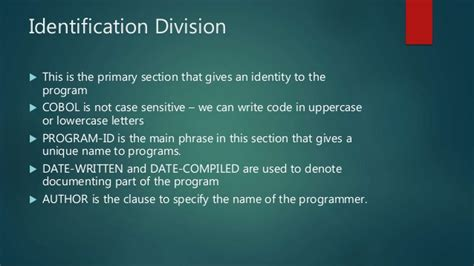 divisions and sections in cobol cobol programming language