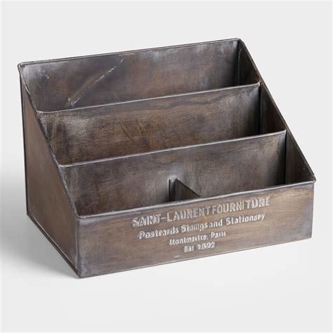 Metal Desk Organizer with Embossed Metal St Laurent Desk Organizer World Market