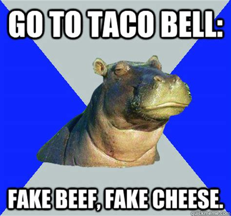 Skeptical Hippo Meme - go to taco bell fake beef fake cheese skeptical hippo