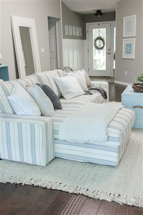 Custom Nautical Sofa Slipcover Beach Style Sofas Slipcover Style Sofas