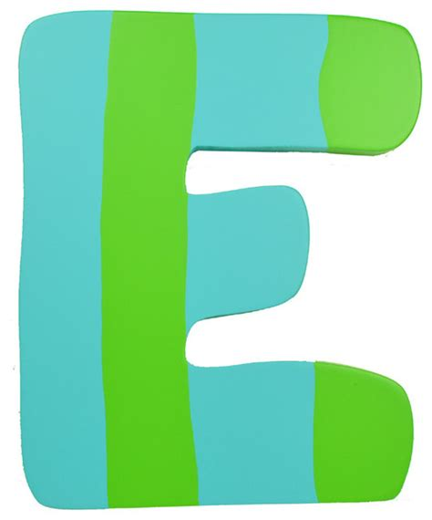 Green amp blue stripe wall letter e modern wall letters by rosenberry rooms