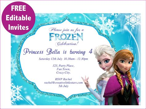 9 best images of frozen birthday invitations editable