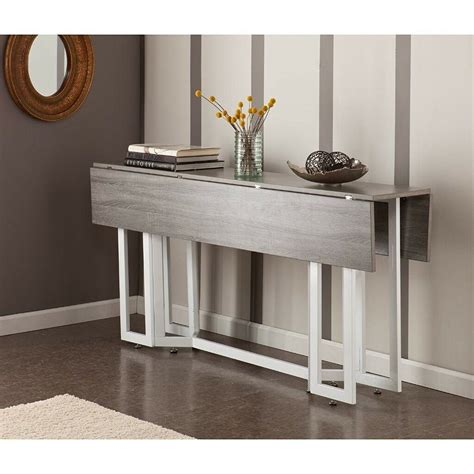 stonewash grey wood adjustable drop leaf dining multi