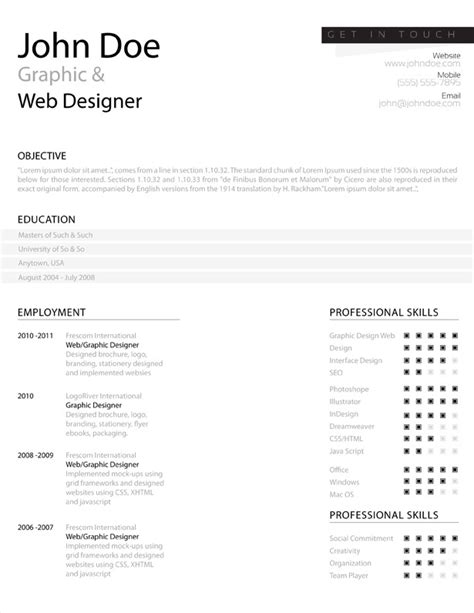 Illustrator Resume Templates by Simple Resume Template Vandelay Design