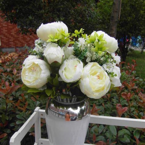 fake flowers home decor artificial bouquet 12 head peony silk flower fake leaf