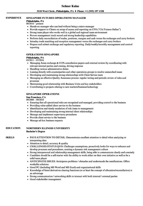 best resume template singapore operations singapore resume sles velvet