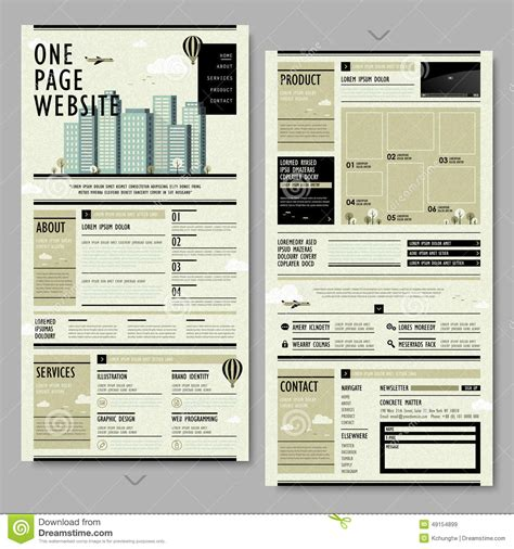 vintage home decor websites retro style one page website design stock vector image 49154899