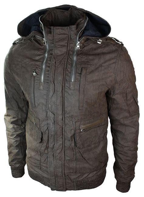 mens slim fit hide away light bomber jacket brown green grey ebay