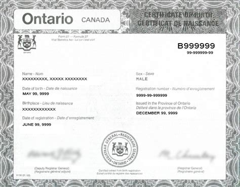 Birth Records Ontario Canada Canadian Birth Certificates Green Cards What You Need