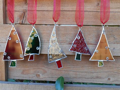 small stained glass l 5 stained glass tree ornaments green clear