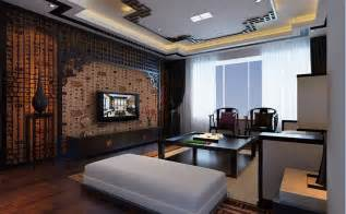 flat screen chinese feature wall lounge interior design
