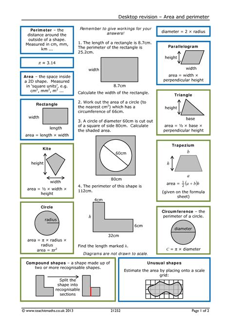 shapes worksheets ks3 area and perimeter compound shapes all ks3 resources