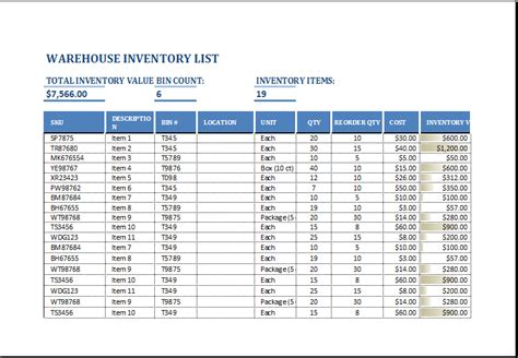 Warehouse Inventory List Template Excel Word Excel Templates Warehouse Inventory Excel Template Free