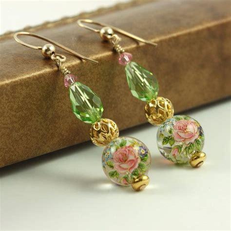 Japanese Handmade Jewelry - pink earrings peridot green japanese tensha gold