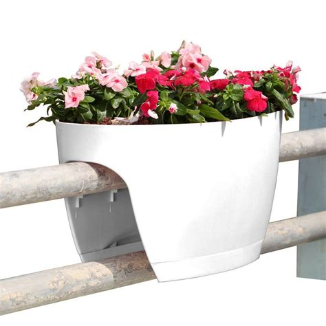 banister planters greenbo 13 4 in x 23 6 in white plastic xl railing and
