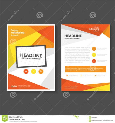 design cover proposal vector orange yellow vector leaflet brochure flyer template