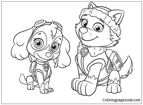 paw patrol spring coloring pages everest and skye paw patrol coloring page free coloring
