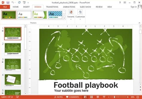 football themed powerpoint 2007 animated football playbook powerpoint template