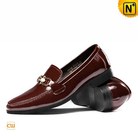 mens patent leather dress loafers shoes brown cw763316