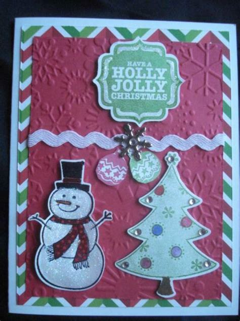 handmade christmas card  stampin  sizzix snowman holly jolly christmas ebay